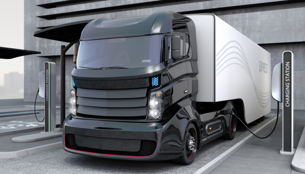Hybrid electric truck being charged at charging station, 3D rendering image.