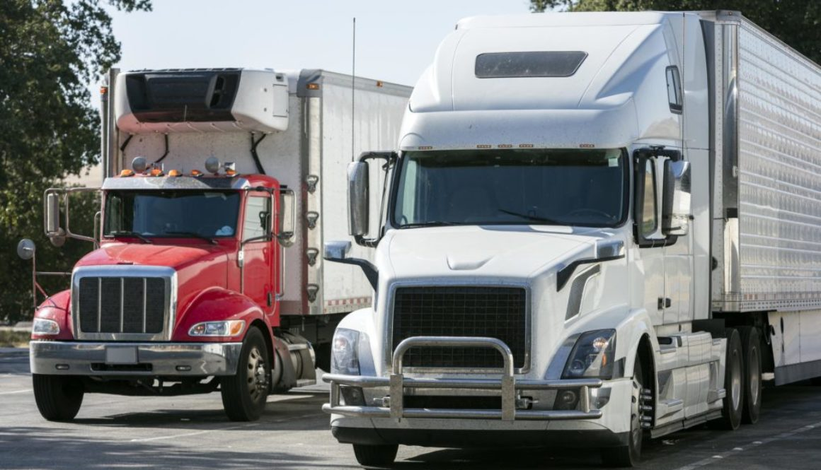 Trucks Parked at a Truck Stop, California, USA